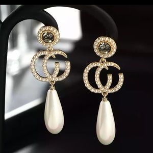 🎀 New Pearl Drop Golden Dress Earrings